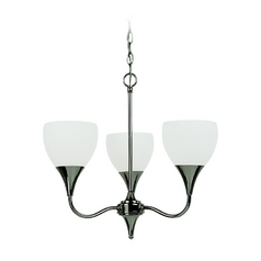 Sea Gull Lighting Modern Mini-Chandelier with White Glass in Polished Nickel Finish 31951BLE-841