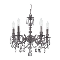 Crystal Mini-Chandelier in Pewter Finish