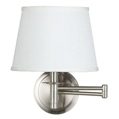 Swing Arm Lamp with White Shade in Brushed Steel Finish