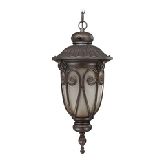 Outdoor Hanging Light with Beige / Cream Glass in Burlwood Finish