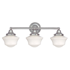 Schoolhouse Bathroom Light with Three Lights in Satin Nickel