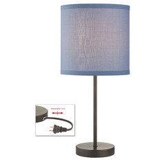 Drum Table Lamp with Blue Linen Shade