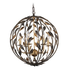 Crystorama Lighting Broche English Bronze / Antique Gold Pendant Light
