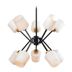 Mid-Century Modern Chandelier Gold and Matte Black Draper by Kenroy