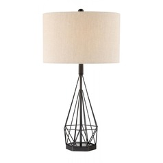 Lite Source Milton Matte Black Table Lamp with Drum Shade