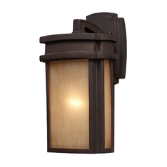 Outdoor Wall Light with Beige / Cream Glass in Clay Bronze Finish