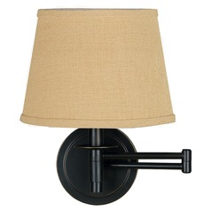 Swing Arm Lamp with Beige / Cream Shade in Oil Rubbed Bronze Finish