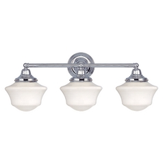 Design Classics Lighting Schoolhouse Bathroom Light with Three Lights in Chrome Finish WC3-26 / GC6