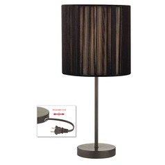 Table Lamp with Black Shade in Bronze Finish