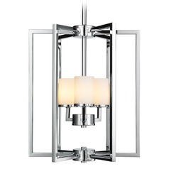 Golden Lighting Baxley Chrome Pendant Light with Cylindrical Shade