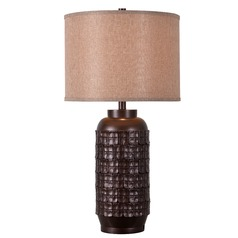 Kenroy Home Axton Chocolate Table Lamp with Drum Shade