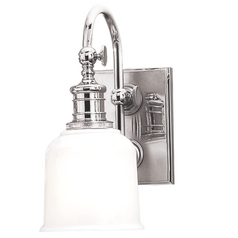 Sconce with White Glass in Polished Chrome Finish