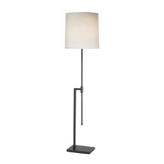 Modern Floor Lamp with White Shade in Black Brass Finish