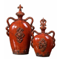 Uttermost Lighting Vase in Burnt Orange Finish 19525