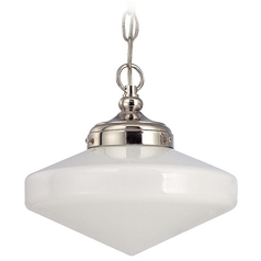 10-Inch Polished Nickel Schoolhouse Mini-Pendant Light with Chain