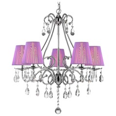 Crystal 5-Light Chandelier with String Shades