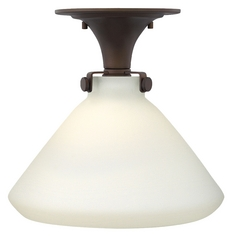 FSemi-lushmount Light with White Glass in Oil Rubbed Bronze Finish