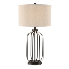 Lite Source Blaine Matte Black Table Lamp with Drum Shade