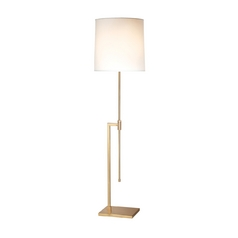 Modern Floor Lamp with White Shade in Satin Brass Finish