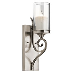 Kichler Sconce Wall Light with Clear Glass in Classic Pewter Finish