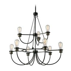 Industrial Edison Bulb Chandelier Black with Brass 30-Inch by Kenroy Home Lighting
