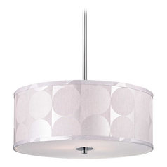 Modern Chrome Pendant Light with Silver Deco Drum Shade