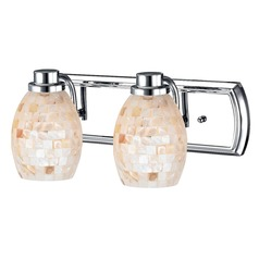 2-Light Bathroom Light with Mosaic Glass in Chrome