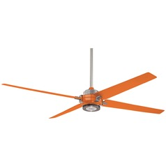 60-Inch Minka Aire Spectre Brushed Nickel/orange LED Ceiling Fan with Light