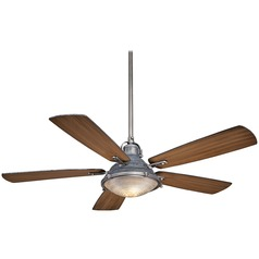 56-Inch Minka Aire Groton Weathered Aluminum Ceiling Fan with Light