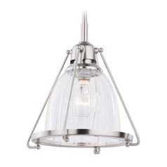 Bucktown Satin Nickel Mini-Pendant Light with Bowl / Dome Shade by Vaxcel Lighting
