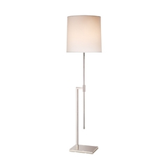 Modern Floor Lamp with White Shade in Polished Nickel Finish