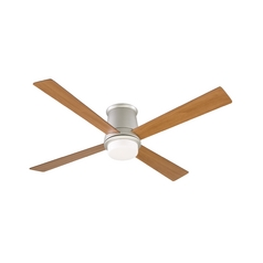 Modern Ceiling Fan with Light with White Glass in Satin Nickel Finish