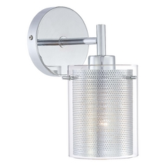 Modern Sconce Wall Light with Clear Glass in Chrome Finish