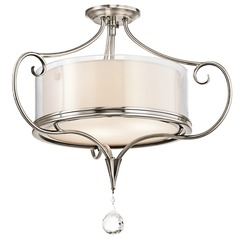 Kichler Semi-Flushmount Light with Clear Glass in Pewter Finish