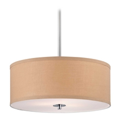 Contemporary Pendant Light with Gold Drum Shade