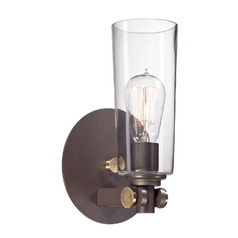 Sconce Wall Light with Clear Glass in Western Bronze Finish