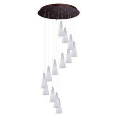 Minx Bronze Multi-Light Pendant with Conical Shade