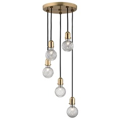 Marlow 5 Light Multi-Light Pendant - Aged Brass