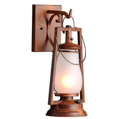Hook Arm Mount Rustic Outdoor Wall Lantern - Natural Rust Finish