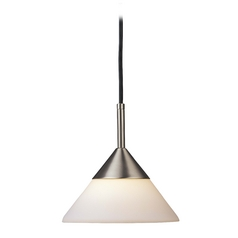 Modern Mini-Pendant Light with White Glass in Brushed Nickel Finish