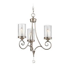 Kichler Mini-Chandelier with Clear Glass in Classic Pewter Finish