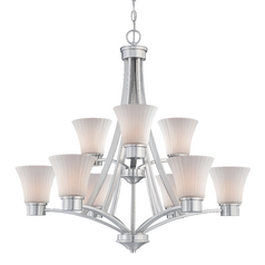 Dolan Designs Lighting Teton Nine-Light Two-Tier Chandelier with Fluted Glass 2982-09