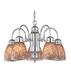 Mini-Chandelier with Brown Art Glass in Chrome Finish