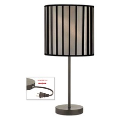 Bronze Table Lamp with Black Opaque Drum Shade