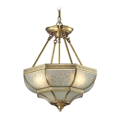 Pendant Light with White Glass in Brushed Brass Finish