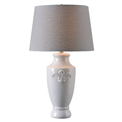 Kenroy Home Crackle White Crackle Table Lamp with Empire Shade