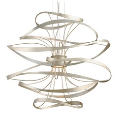 Corbett Lighting Calligraphy Silver Leaf and Polished Stainless Accents LED Pendant Light