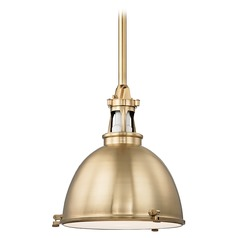 Hudson Valley Lighting Massena Aged Brass Pendant Light with Bowl / Dome Shade
