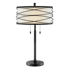 Lite Source Lumiere Dark Bronze Table Lamp with Drum Shade