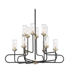 Seeded Glass Chandelier Black Tenor by Quoizel Lighting